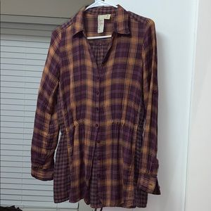Tie Waist Fitted Long Flannel Button Down fall